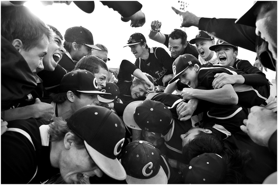 Members of the American Fork baseball team celebrate after winning the 5A Utah state championship game at Kearns High School Friday May 25, 2012.  American Fork defeated Taylorsville 5-4.