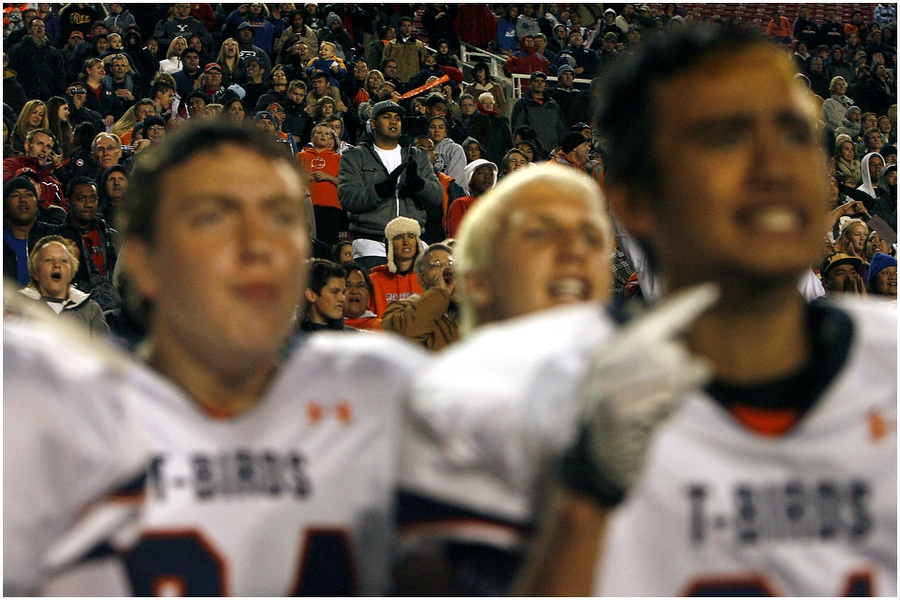 Timpview fans and players watch during overtime of the 4A championship game at Rice-Eccles Stadium Friday November 16, 2012. Timpview defeated Mountain Crest 38-31.