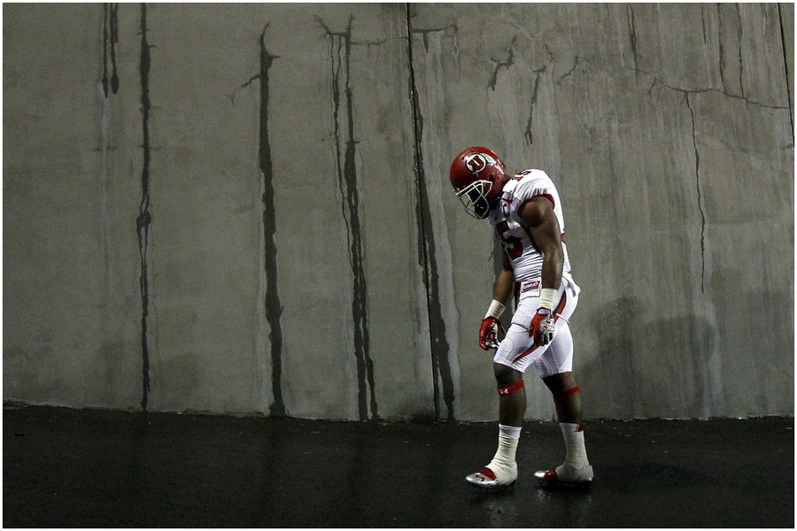 Utah Utes running back John White (15) walks off of the field after the game at Reser Stadium Saturday October 20, 2012. Oregon State won the game 21-7. Oregon State held Utah running back John White to only 68 yards on 20 carries.