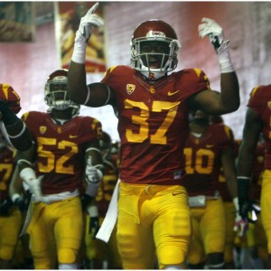 Members of the USC football team before the game at the The Los Angeles Memorial Coliseum Saturday October 26, 2013.