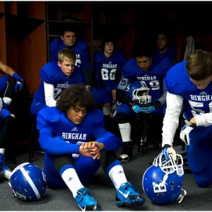Members of the Bingham football team get ready before the 5A semifinal game against Lone Peak at Rice-Eccles Stadium Friday November 15, 2013.