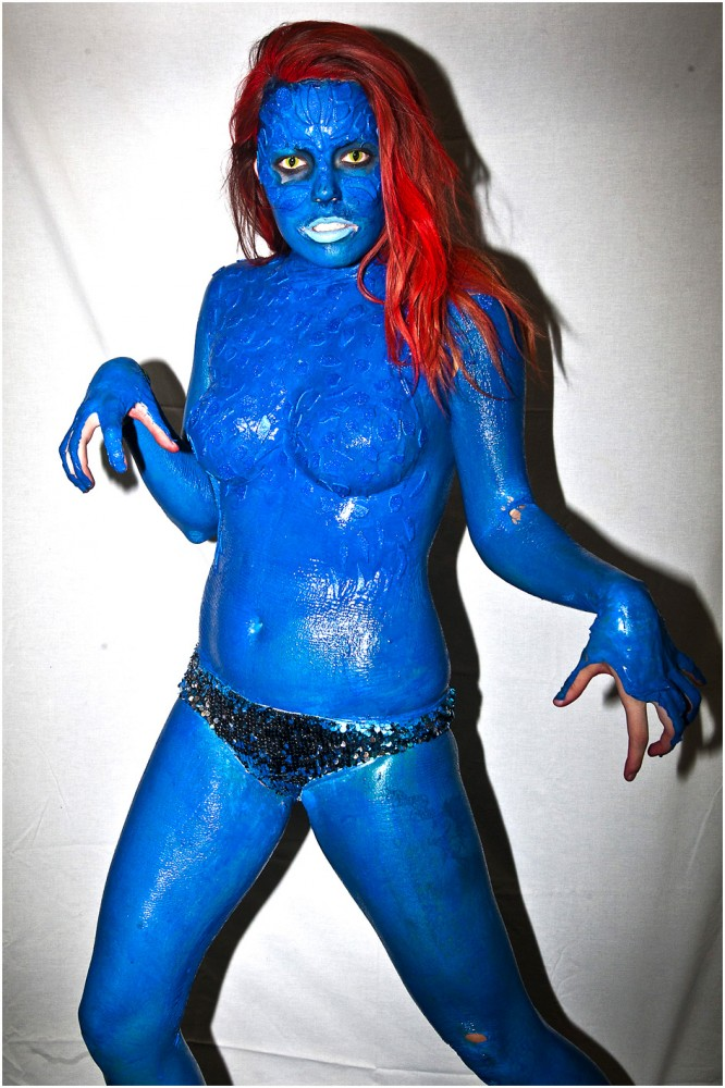 Kelsey Hufford, of Ogden, poses for a portrait as Mystique, during the inaugural Salt Lake Comic Con at the Calvin L. Rampton Salt Palace Convention Center Friday September 6, 2013.