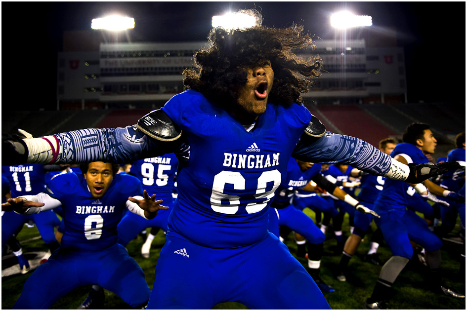 Bingham's Noa Taeatafa (69) and his teammates do the Haka dance before the 5A semifinal game against Lone Peak at Rice-Eccles Stadium Friday November 15, 2013. Bingham defeated Lone Peak 48-13.