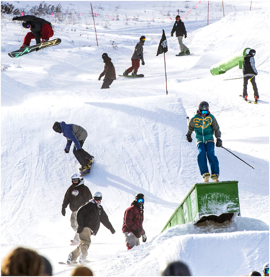 Skiers and snowboarders in the Three Kings Terrain Park at Park City Mountain Resort Saturday November 23, 2013. Park City Mountain Resort opening day marks 50 years in business.