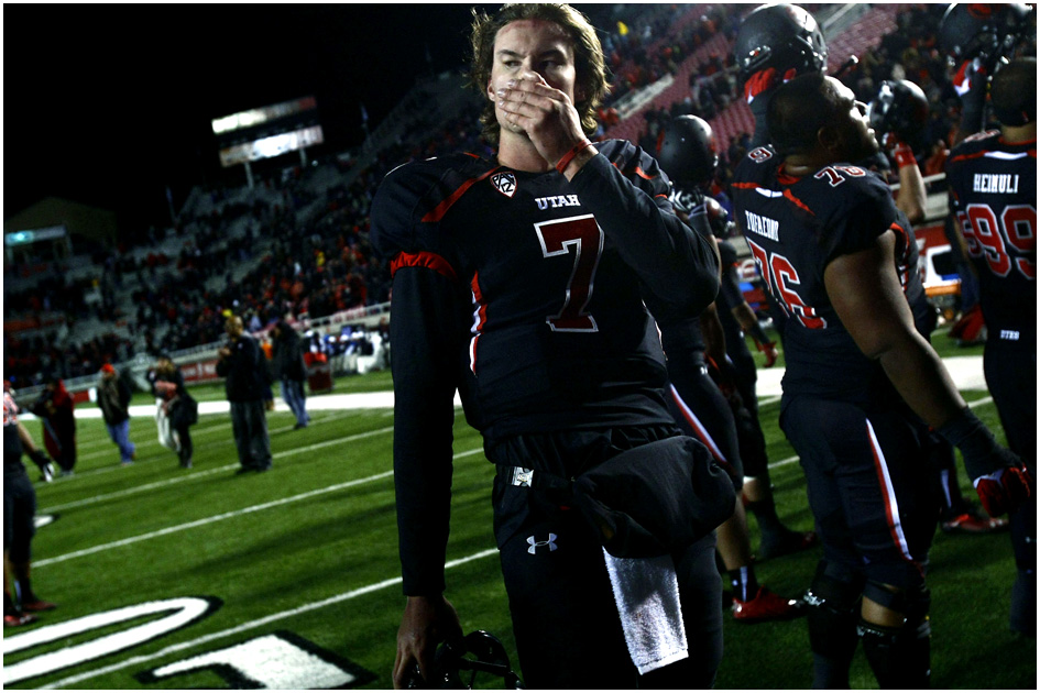 Utah Utes quarterback Travis Wilson (7) walks off of the field after the game at Rice-Eccles Stadium Thursday October 3, 2013. UCLA won the game 34-27.