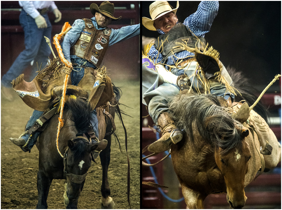 Cody DeMoss, of Heflin, La., left and Scotty NeSmith, of Morristown, Tenn., compete during the Days of '47 Rodeo at EnergySolutions Arena Tuesday July 22, 2014.