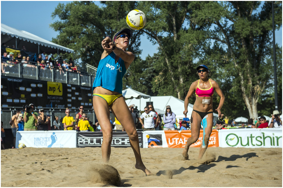 Kerri Walsh Jennings, left, and April Ross compete against Nicole Branagh and Amanda Dowdy during the AVP Pro Beach Volleyball tournament at Liberty Park Saturday August 9, 2014.
