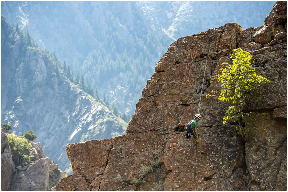 Chris Detrick  |  The Salt Lake Tribune Utah Mountain Adventures guide Tyson Bradley rappels down a 5.4 rated route on Reservoir Ridge in Big Cottonwood Canyon Tuesday September 23, 2014.