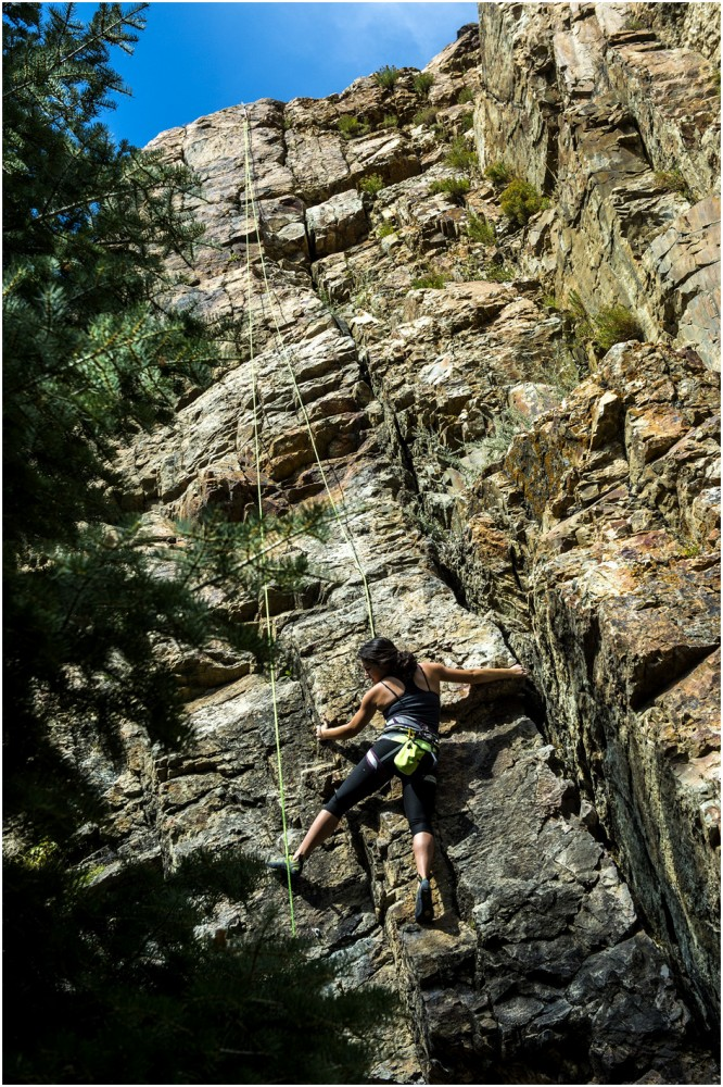Westminster College sophomore Tiffany Perry climbs a rout near Storm Mountain in Big Cottonwood Canyon Tuesday September 23, 2014.